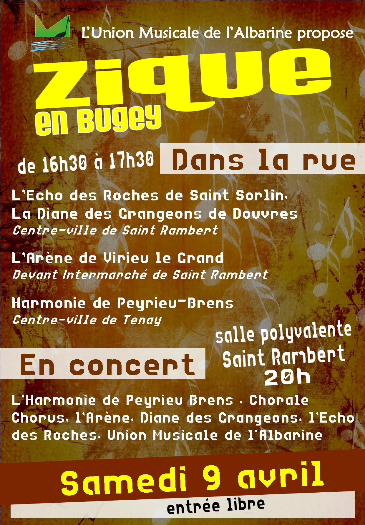 Affiche concert Zique en Bugey 9 avril 2016