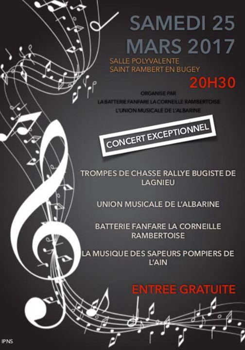 concert exceptionnel 25 mars 2017 Saint Rambert avec la Corneille Rambertoise et l'Union Musicale de l'Albarine