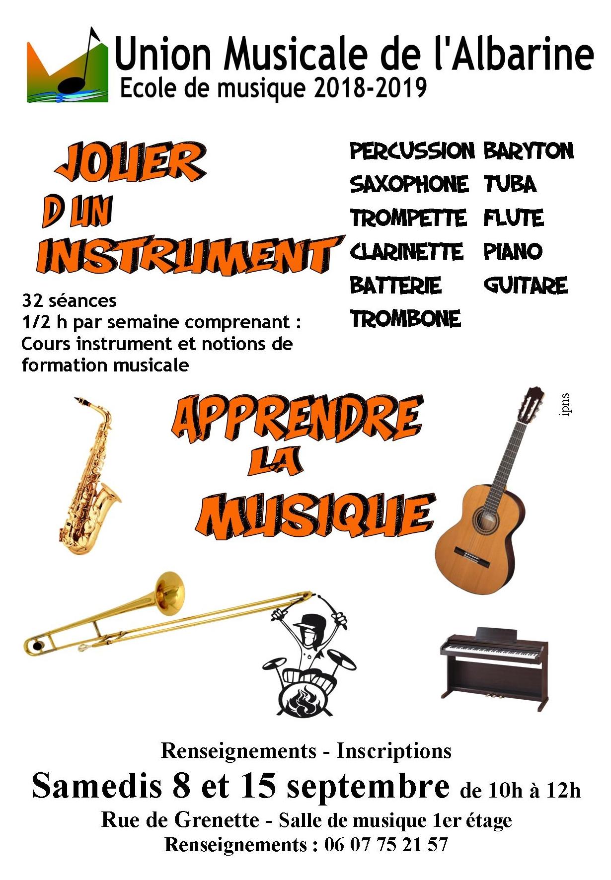 Affiche école union musicale albarine débutants 2018 2019