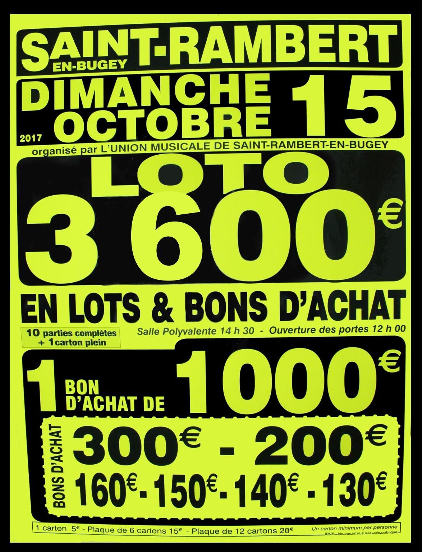 Loto 3600€ Union Musicale de l'Albarine 2017