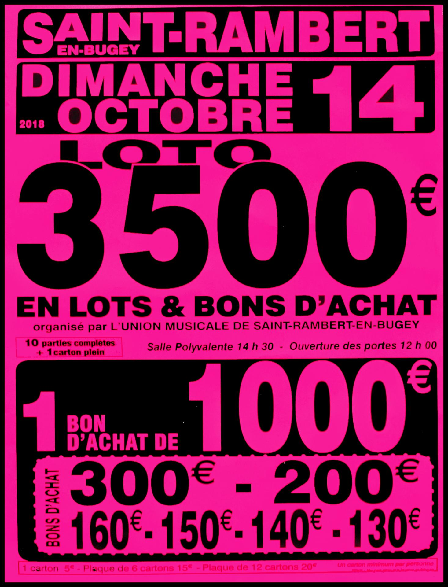Loto 3 500€ Union Musicale de l'Albarine 2018