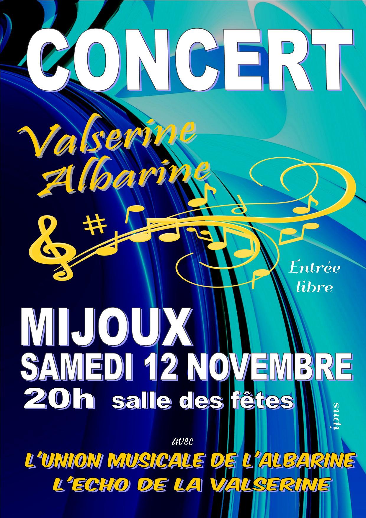 Concert Union Musicale Albarine Echo de la Valserine Mijoux 12 novembre 2016