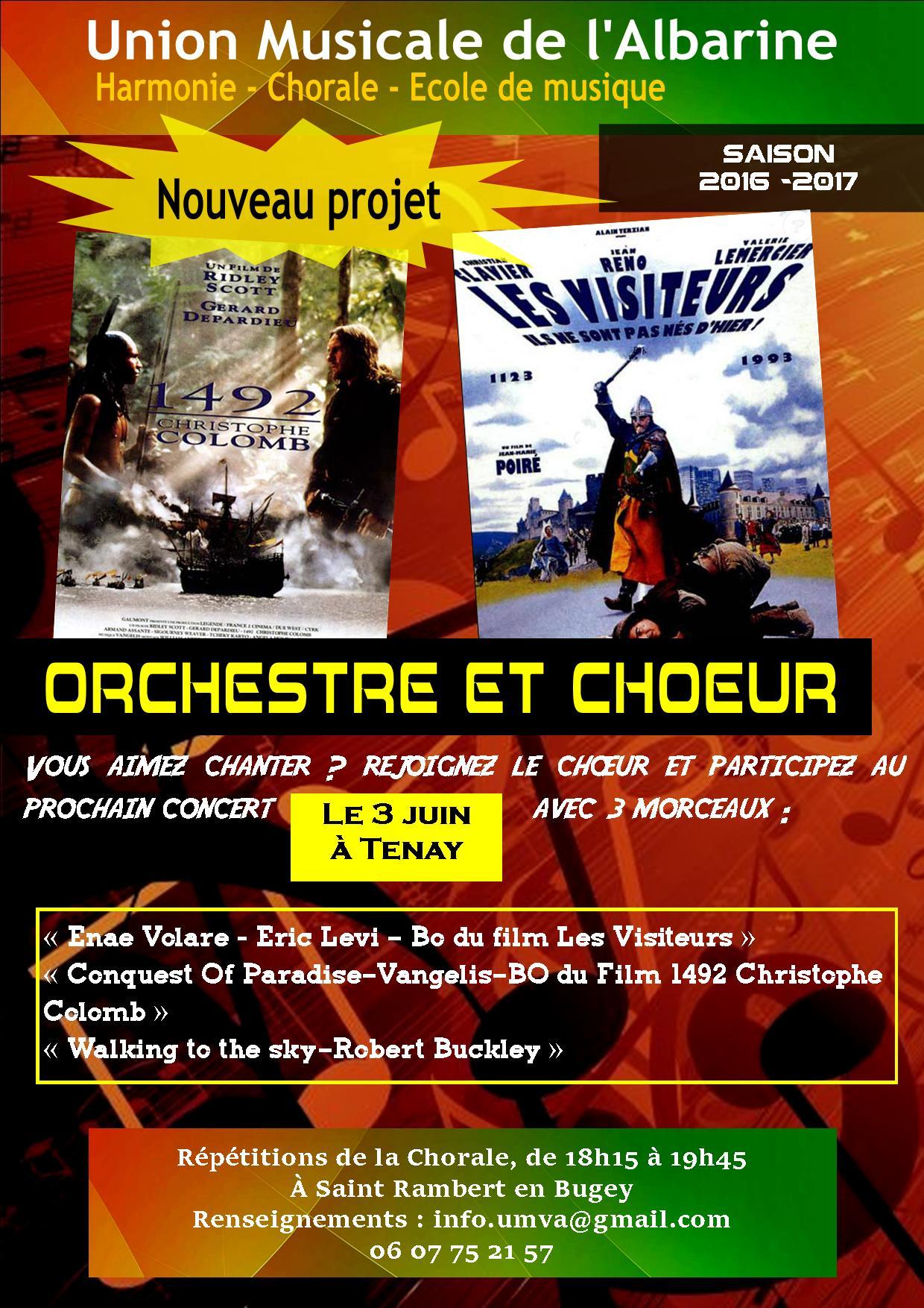 projet Orchestre et Choeur printemps 2017 de l'Union Musicale de l'Albarine