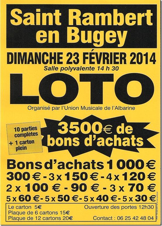 Affiche du loto de l'Union Musicale de l'Albarine 2014