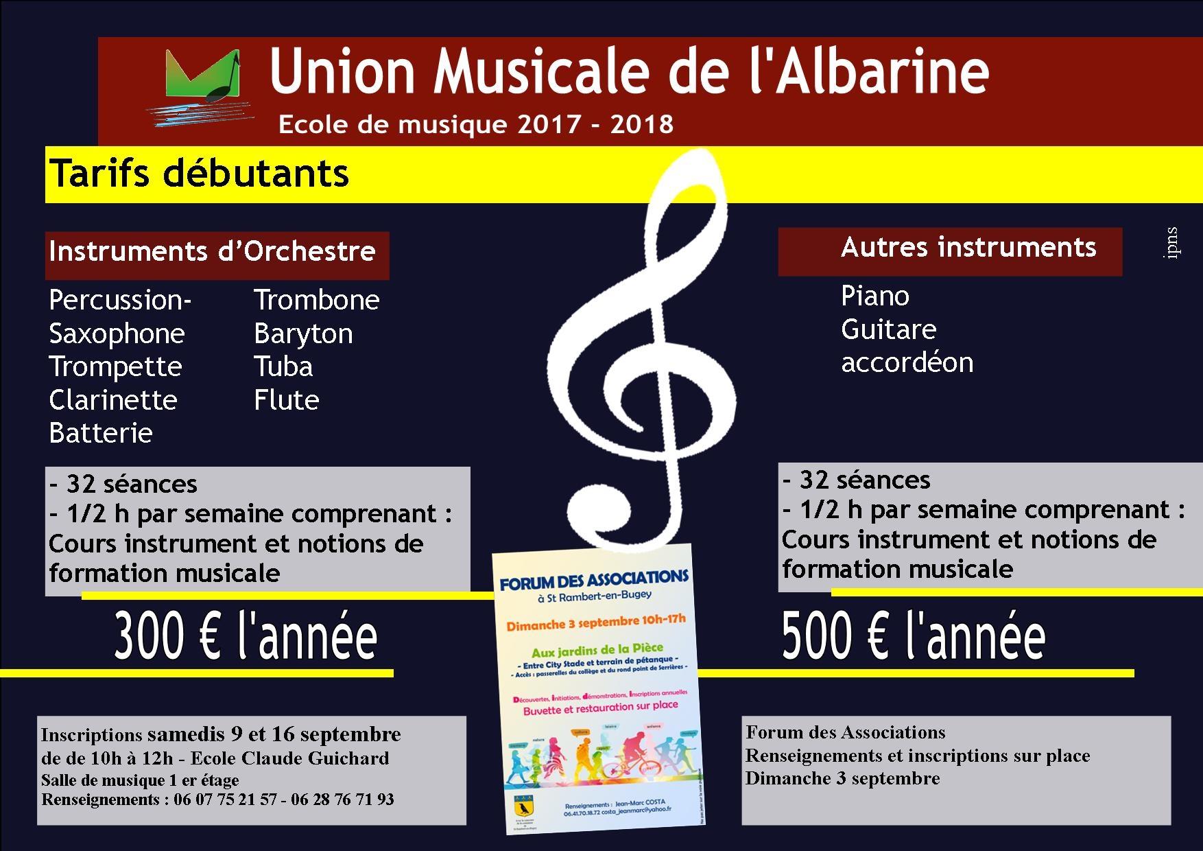 Tarifs école union musicale albarine debutants 2017 - 2018