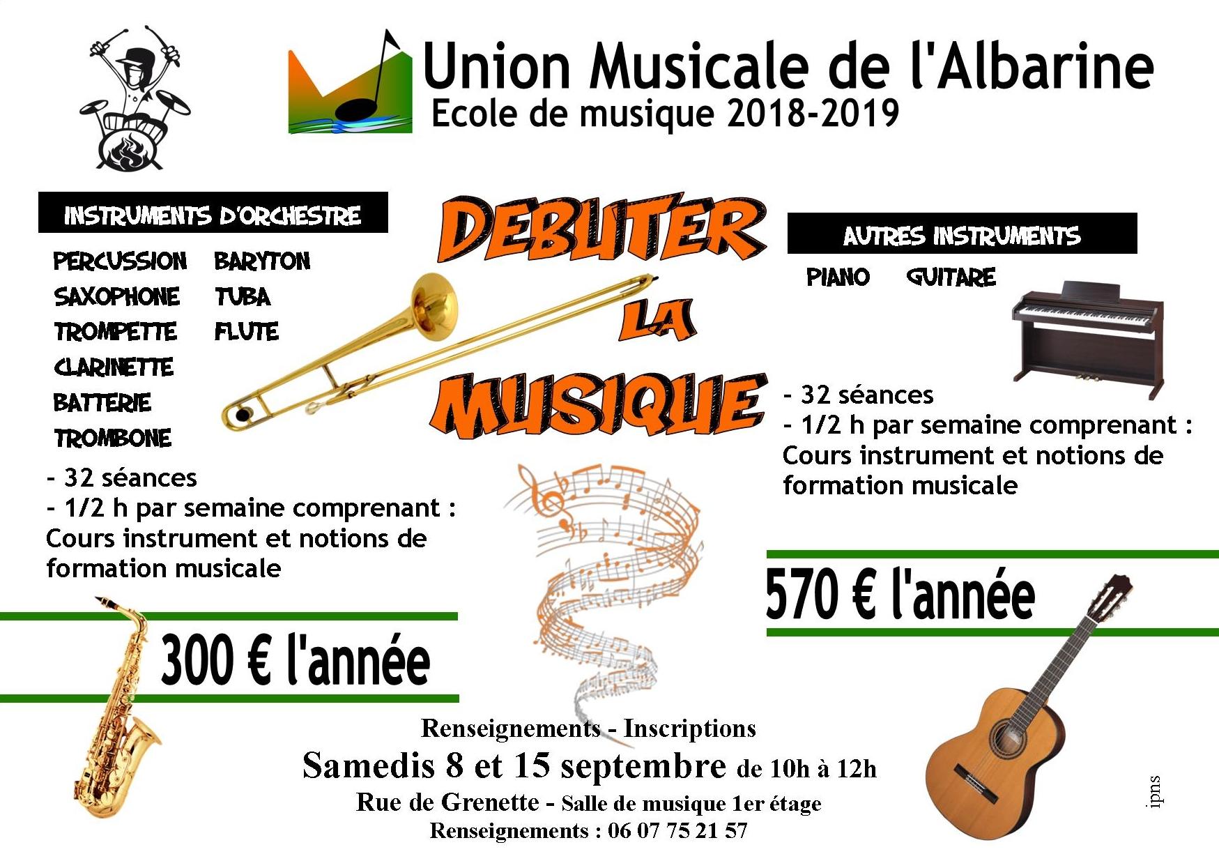 Tarifs 2018-2019 ecole union musicale albarine debutants