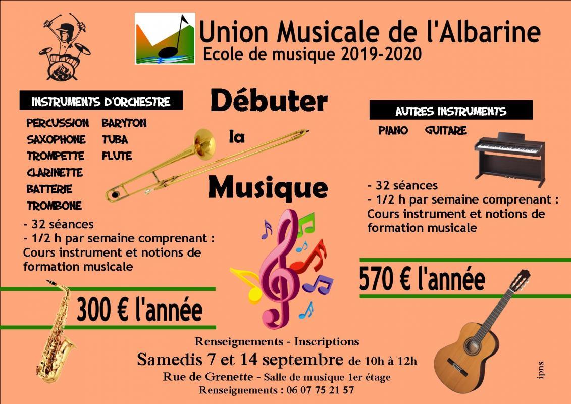 Tarifs ecole union musicale albarine debutants 2019 2020