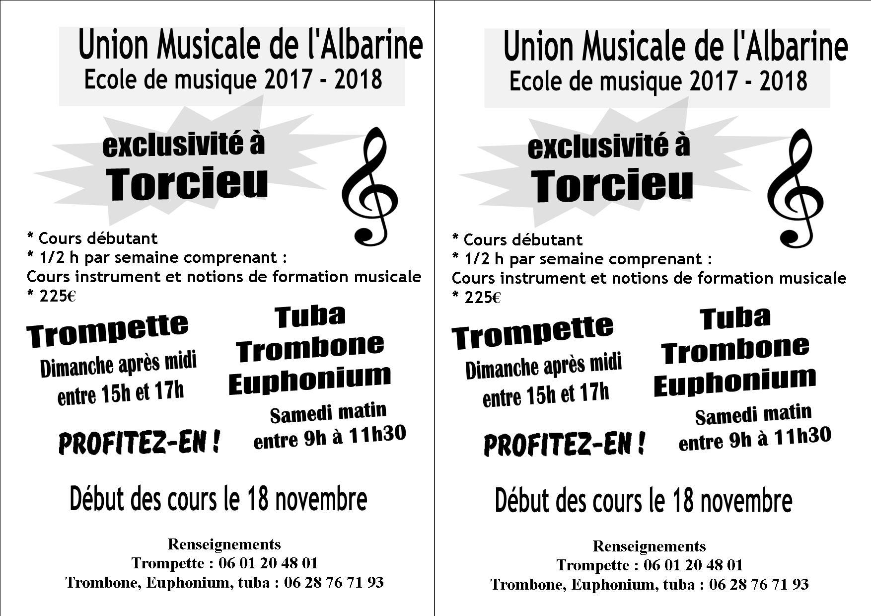 Tarifs ecole union musicale albarine torcieu debutant 2017 2018